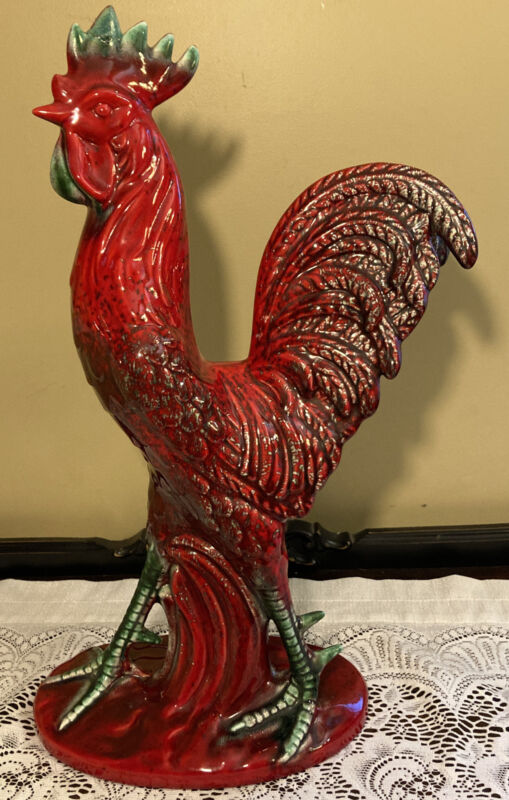 "Vintage 20"" Royal Haeger Red Rooster Figurine"