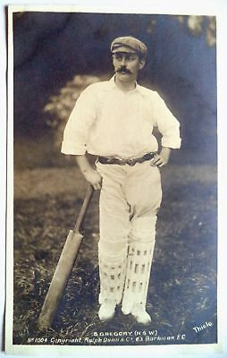 SYD GREGORY AUSTRALIA 1905 RALPH DUNN REAL PHOTO CRICKET POSTCARD