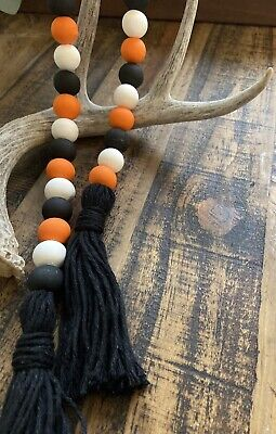 Halloween Wooden Bead Garland With Black Tassels/Halloween Decor/30 Inches Long