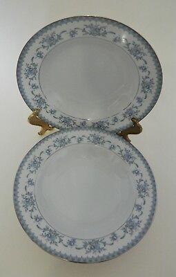 Sango Diplomat Cahill 334 China Blue Flora Platinum Trim Two Rim Soup Bowls