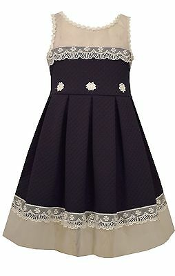 Bonnie Jean Easter Special Occasion Girls Lace Trimmed Navy Floral Dress 4-16 (Occasion Dresses Girls)