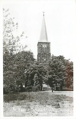 Mendon MI~Saint Edward Catholic Church~Steeple Towers Above Trees 1950 RPP