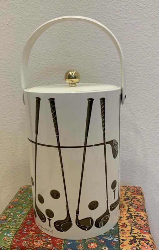 Vintage Mid Century Modern Georges Briard Ice Bucket Golf Clubs White and Gold