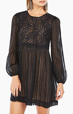 NWT BCBG MaxAzria Astrid Silk Chiffon Lace Sheer Dress Black sz S 4