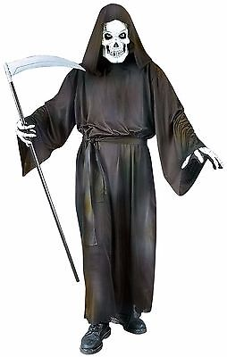 Adult Mens 4 Pc Grim Reaper + Mask Gloves Halloween Fancy Dress Costume Outfit