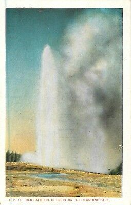 Y.P. 12 Old Faithful In Eruption, Yellowstone Park Postcard