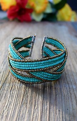 Elena of Avalor Adult Cuff Bracelet Costume Cosplay Turquoise Gold Seed Bead USA (Costume Of Usa)