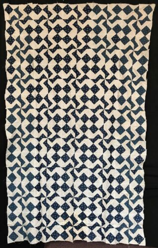 Antique 1880 Blue & White Pinwheel Quilt Top