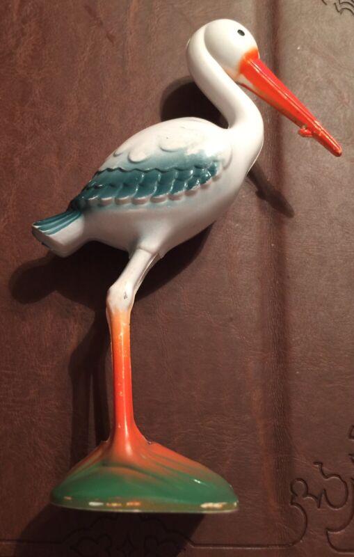 Vintage Celluloid Plastic Stork 1950's Baby Shower Decor/Rattle