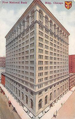 Illinois Postcard Chicago  First National Bank Bldg I Will Symbol 1913