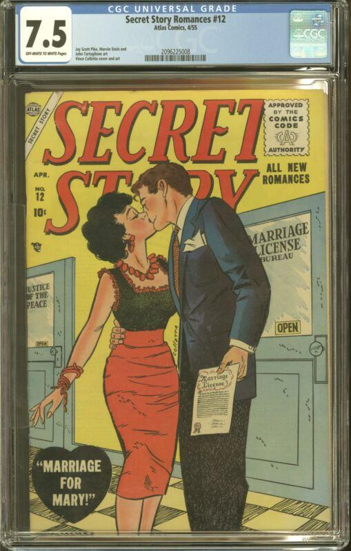 SECRET STORY ROMANCES #12 SINGLE HIGHEST GRADED CGC 7.5 VF- ATLAS 1955
