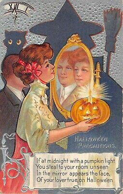 1909 Shadow Witch & Lady w/ Jack O Lantern Mirror Halloween Precautions - Halloween Shadow Lantern