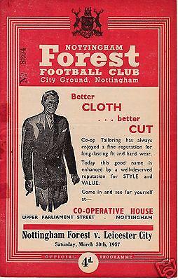 NOTTINGHAM FOREST V LEICESTER CITY 2ND DIVISION  30/3/57