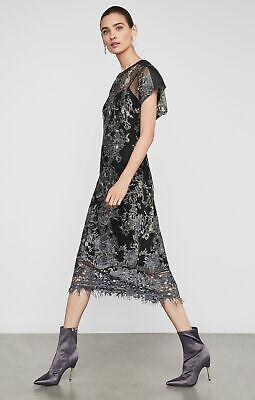 BCBG MAXAZRIA Metallic Embroidered Midi Dress Bluestone Black Size 0 NWT $328