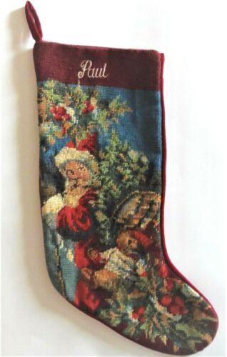 "VTG Handmade Needlepoint Christmas Stocking Santa With Name ""PAUL"""