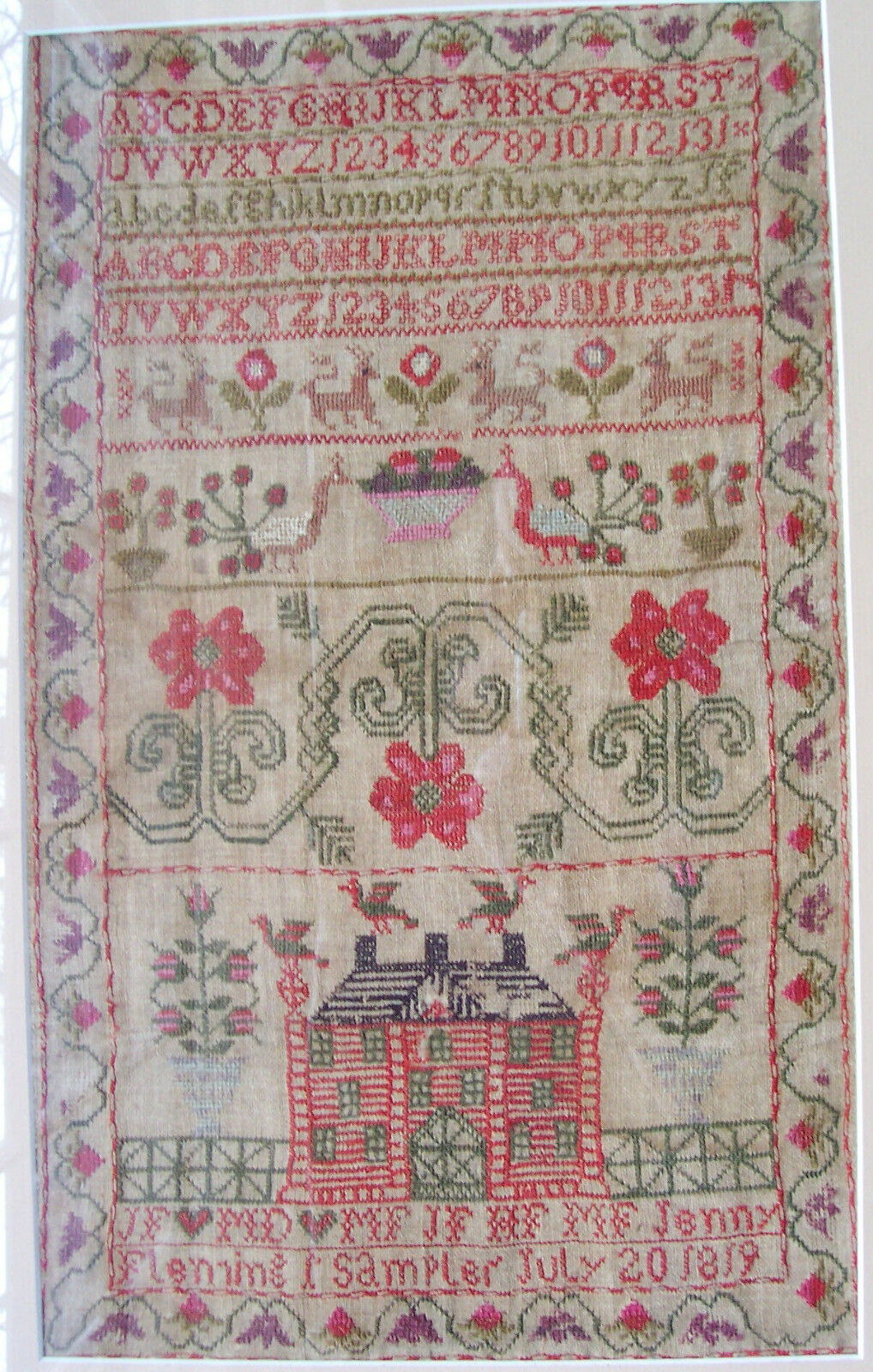 Early Pictorial Sampler Jenny Fleming 1819 Antique w Alphabet House Roses Lions