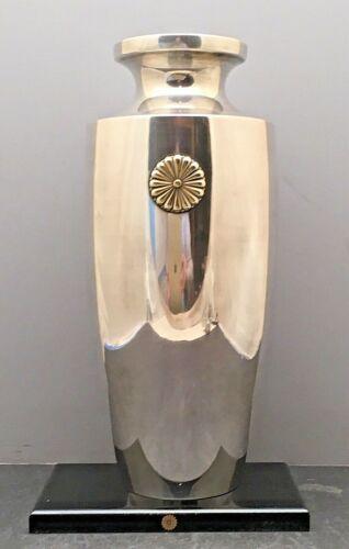 Stunning Japanese Imperial Gold Mon Meiji Sterling Silver Vase