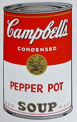 ANDY WARHOL CAMPBELLS' PEPER POT Soup Can SUNDAY B.MORNING Silkscreen Print COA