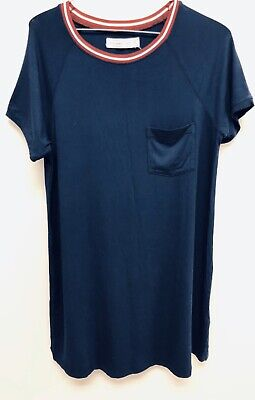 Women's Abercrombie And Fitch Navy Blue Short Sleeve T Shirt Dress Size L Large