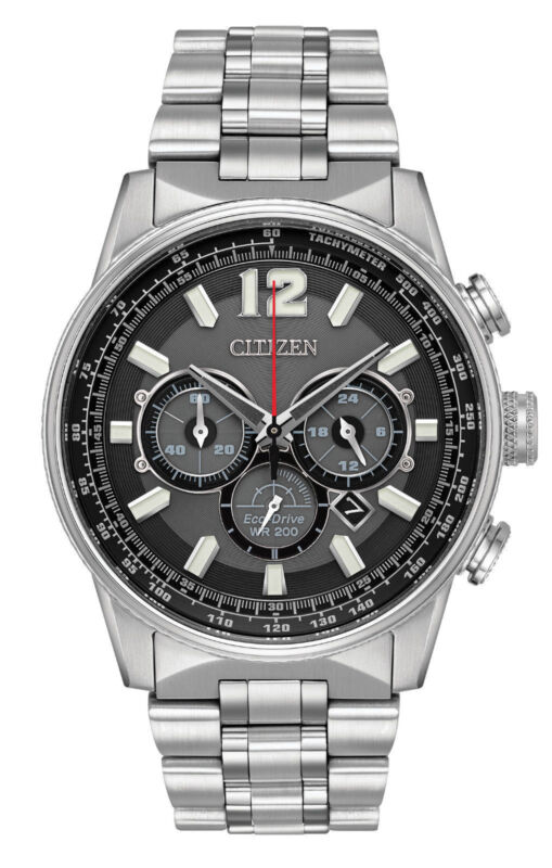 Citizen CA4370-52E Men's Eco Drive Stainless Steel Nighthawk Chronograph Watch