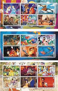 DISNEY CARTOONS 7 SOUVENIR SHEETS MNH IMPERFORATED