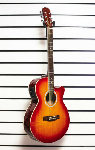 Chase SW206CECS Electro Acoustic Guitar Small Body Folk Cutaway Steel Strings -Z