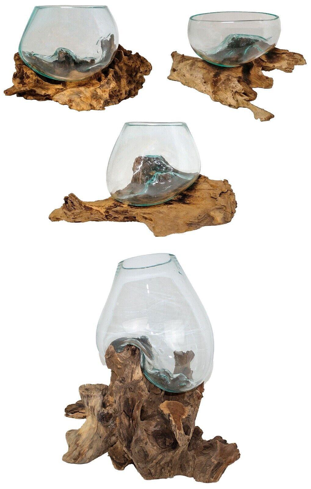 Glas auf Wurzel Teakholz, Blumenvase, Kugelvase, Glasvase, Wurzel mit Glas, Deko