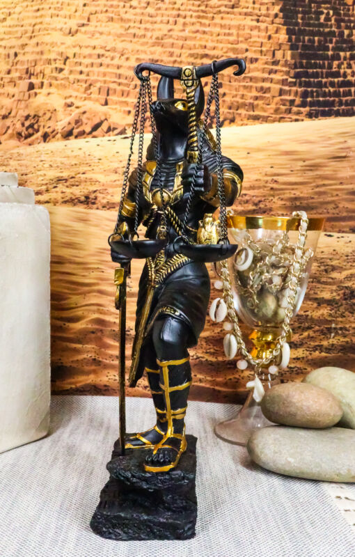 """Ebros God Anubis with Scales of Justice Statue Figurine 10"""" Tall (Black & Gold)"""