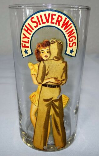 WW2 Victory Homefront Peekaboo Pinup FLY HI SILVER WINGS Glass Tumbler WWII (b)