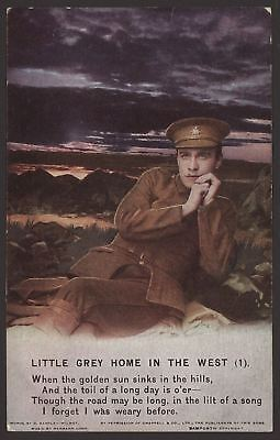 """""""Little Grey Home In The West""""  4 Part WW1 Bamforth Song Card Set. Series 4871"""