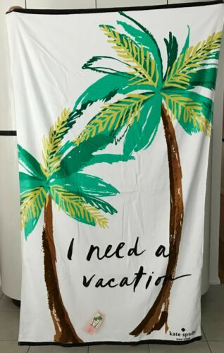 """Kate Spade I NEED A VACATION 100% Cotton 40"""" X 70"""" Beach Towel NEW WITH TAGS!"""