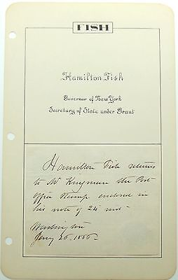 Hamilton Fish Secretary Of State President Grant Autograph Signed Album Page