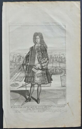 Portrait of John Law Scottish economist and financier. Engraving.ca.1720   -RARE