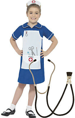 Smiffys Girls Childrens Nurse Costume Outfit Fancy Dress Stethoscope Age 4-12 - Kids Nurse Outfit