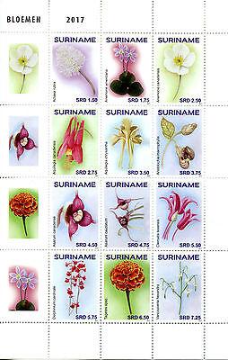 Suriname 2017 MNH Flowers 12v Block Bloemen Plants Nature Stamps