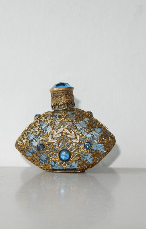 Antique Czech Glass Perfume Bottle Mini Blue Rhinestone Filigree Enamel