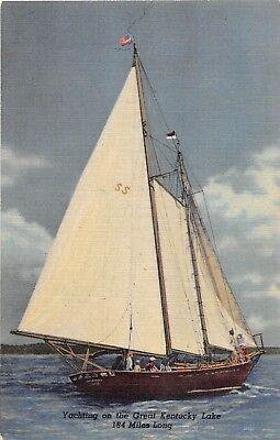 E22/ Great Kentucky Lake  Ky Postcard Linen Yachting Sailboat 184 Miles Long