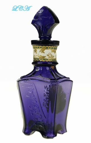 Pristine PURPLE antique KERKOFF PARIS perfume bottle w/ STOPPER labels EMBOSSED