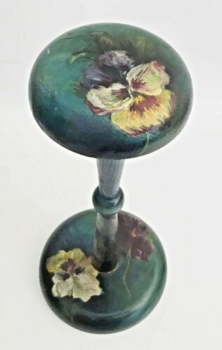 """Stunning Antique Painted """"PANSIES"""" Hat Stand"""