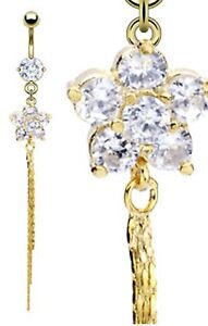Gold Plated Clear Flower Chain Dangle Belly Navel Ring Body Jewelry Wholesale