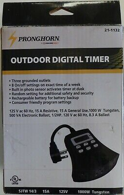 Digital Outdoor Timer~3 Outlet~7 Day Program~Light Photocell Sensor~Batt Backup Fan Controller Program