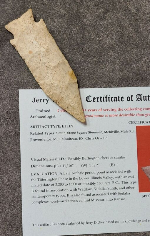 "Very Fine Moniteau Co. Missouri Etley 4 11/16"" Jerry Dickey Coa"