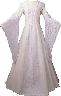 Mittelalter Renaissance Gewand Brautkleid Robe Kostüm Eloise Ecru-Weiss XS-60 ()