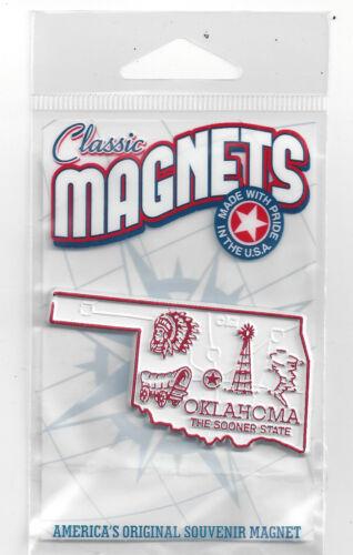 "OKLAHOMA  "" THE SOONER STATE""   OK    OUTLINE MAP MAGNET in Souvenir Bag, NEW"