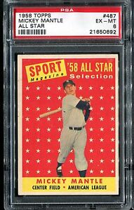 1958 Topps Mickey Mantle All Star #487 PSA 6 (21650692)