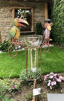 Regenmesser Niederschlagsmesser Gartenstecker Rabe Vogel Metall Glas Bunt H130cm