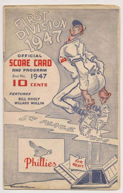 1947 Philadelphia Phillies-Cardinals Program Clubs Split Twinbill NICE!!