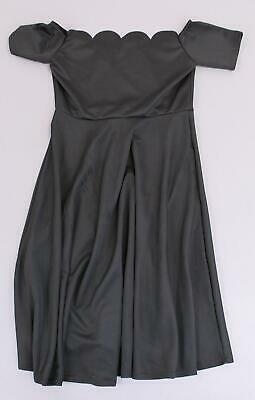 Boohoo Women's Plus Scallop Off Shoulder Midi Skater Dress MC7 Black Size US:12