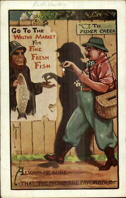 Fishing Comic - Fisherman Silhouette c1910 C. Ryan Postcard