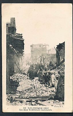 FRENCH POSTCARD Great Thessaloniki Fire of 1917 Rue Venixelos  OAS - MORTLAKE